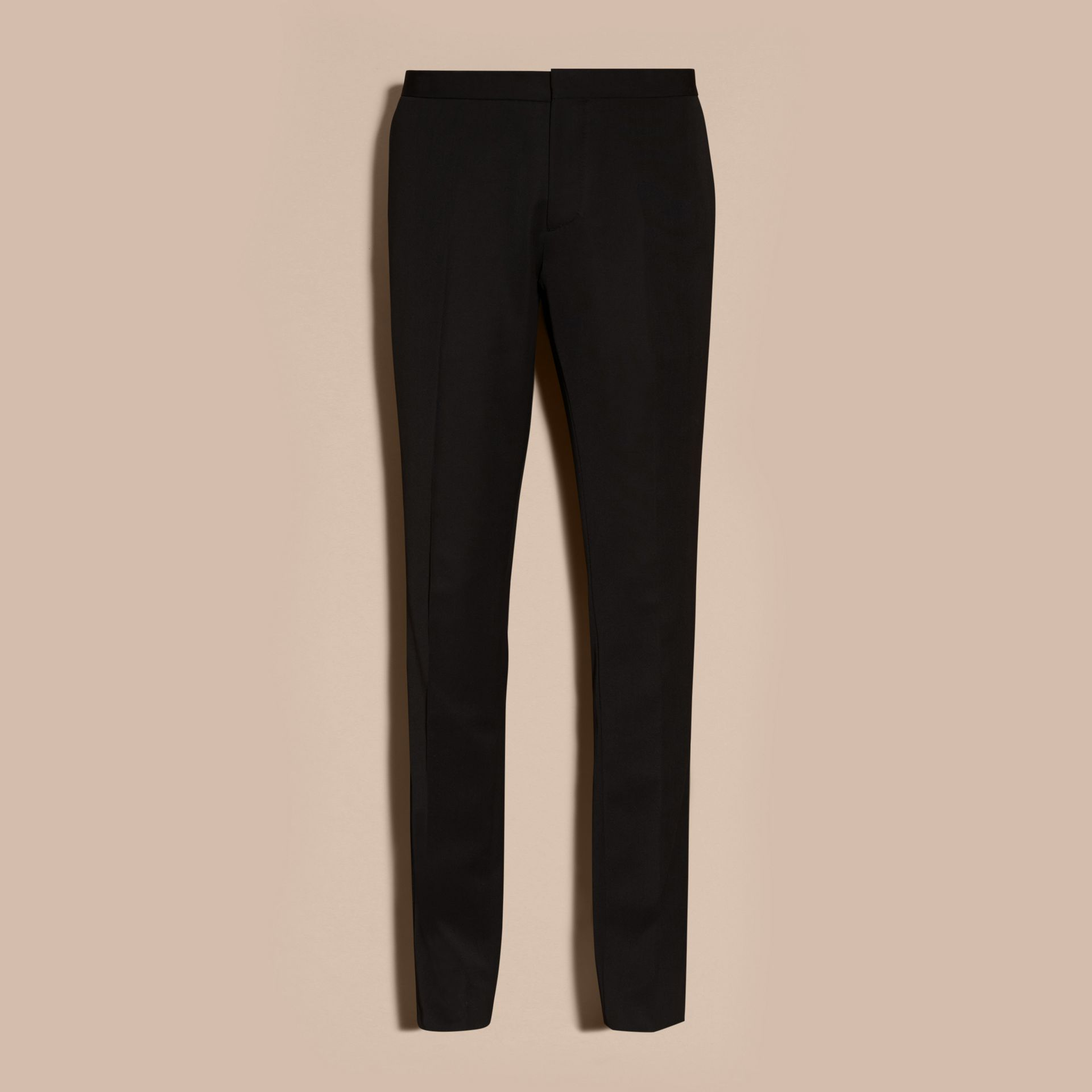 Black Virgin Wool Tuxedo Trousers Black - gallery image 4