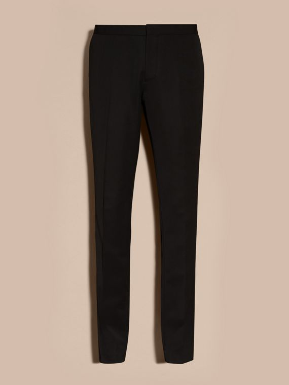 Black Virgin Wool Tuxedo Trousers Black - cell image 3