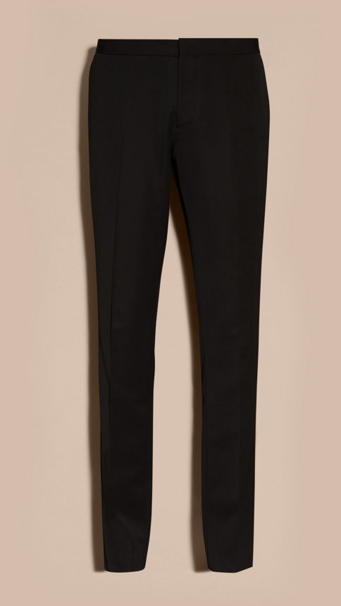 Black Virgin Wool Tuxedo Trousers Black - Image 4