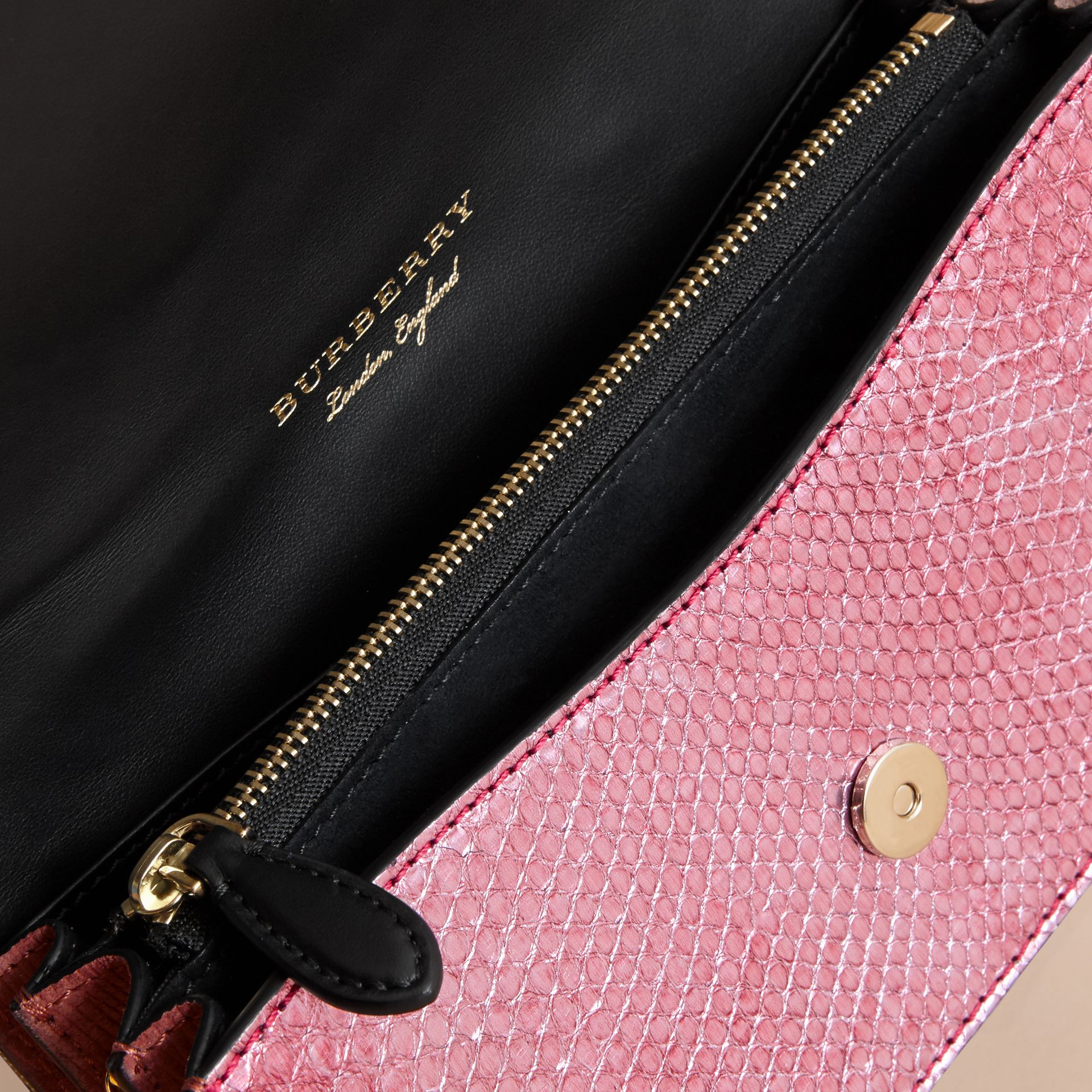 The Small Buckle Bag in House Check and Snakeskin - gallery image 6