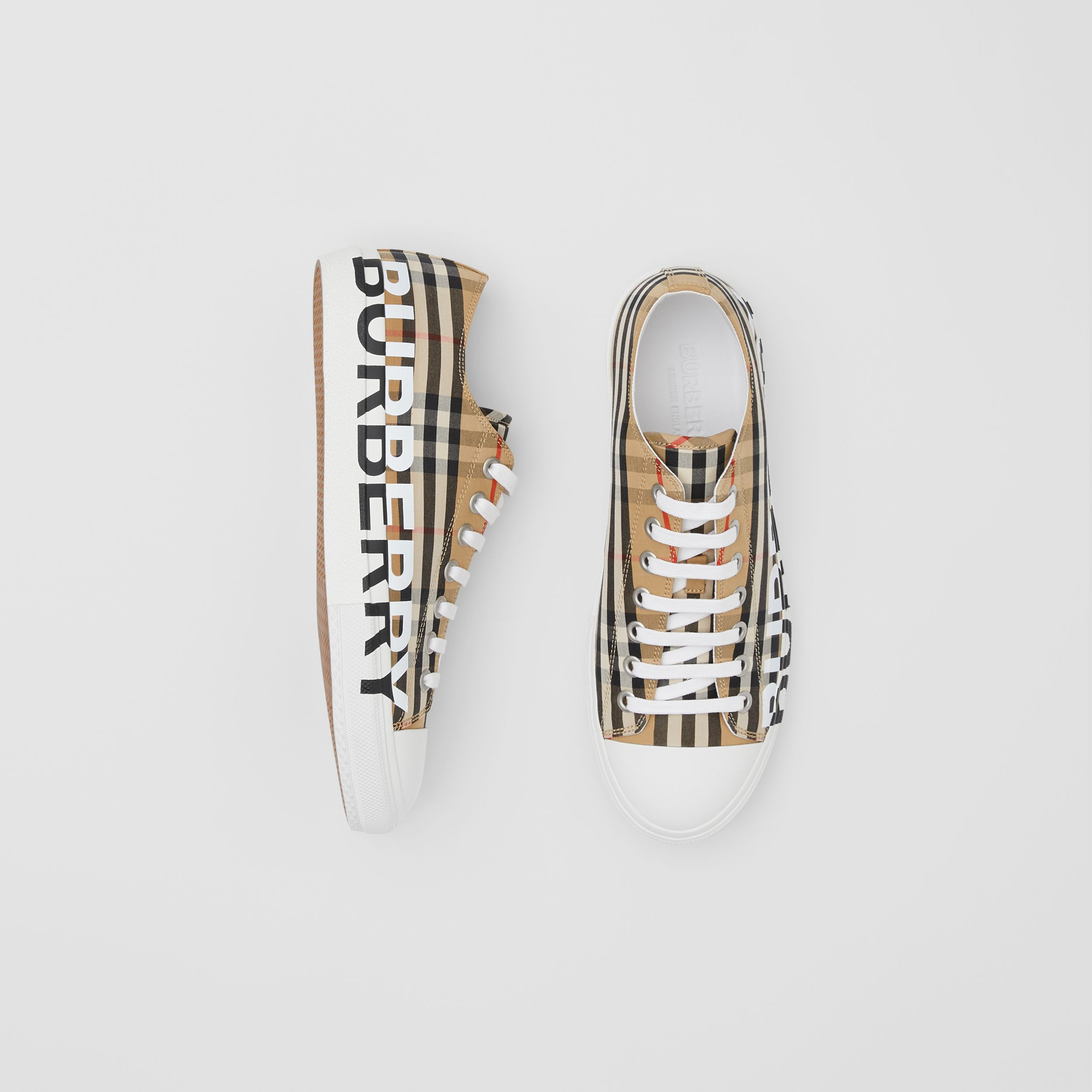 Logo Print Vintage Check Cotton Sneakers in Archive Beige - Men | Burberry - 1