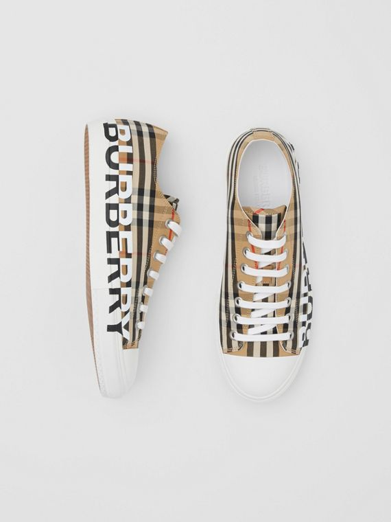 Logo Print Vintage Check Cotton Sneakers in Archive Beige