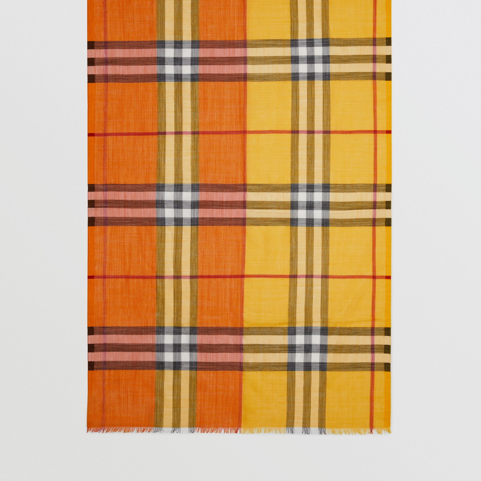 Colour Block Check Wool Silk Scarf in Amber Yellow | Burberry Singapore - gallery image 4