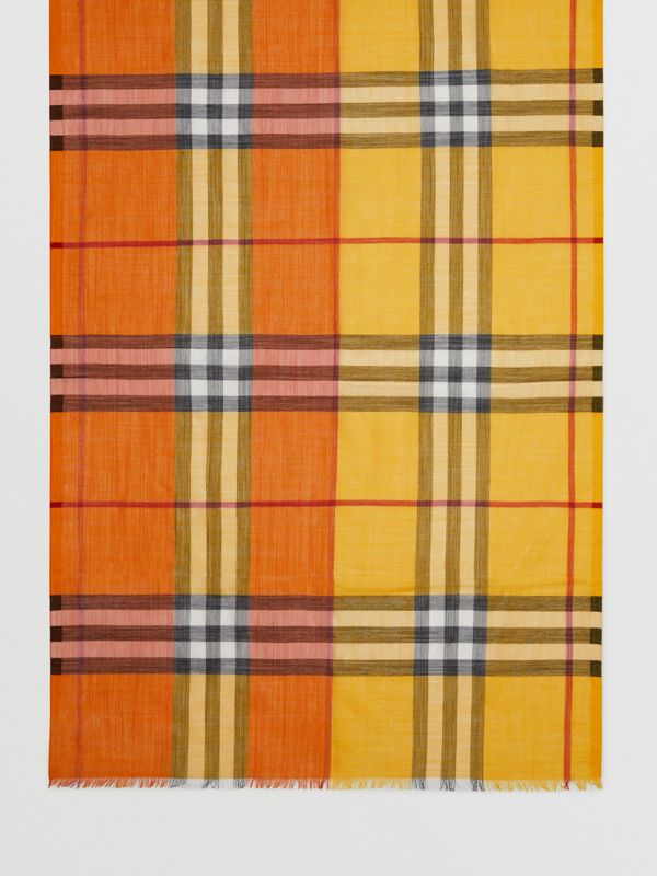 Colour Block Check Wool Silk Scarf in Amber Yellow | Burberry - cell image 2