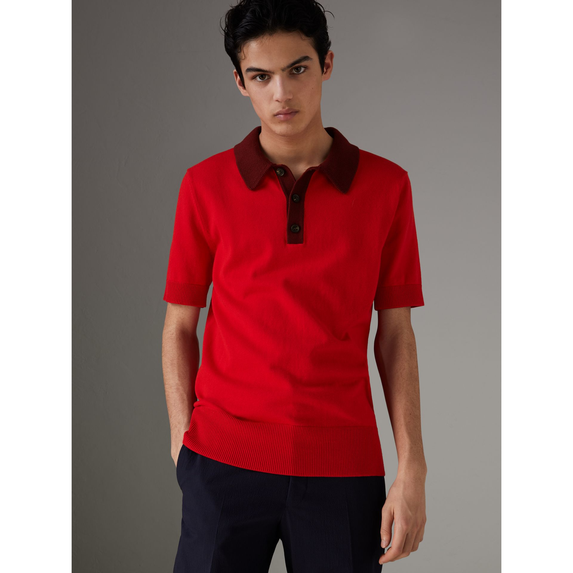 Two-tone Knitted Cotton Polo Shirt in Bright Red - Men | Burberry - gallery image 4