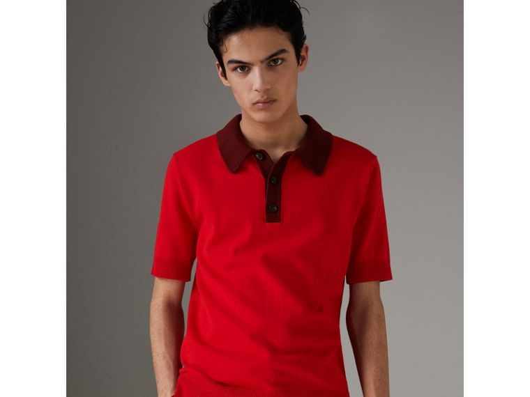Two-tone Knitted Cotton Polo Shirt in Bright Red - Men | Burberry Australia - cell image 4