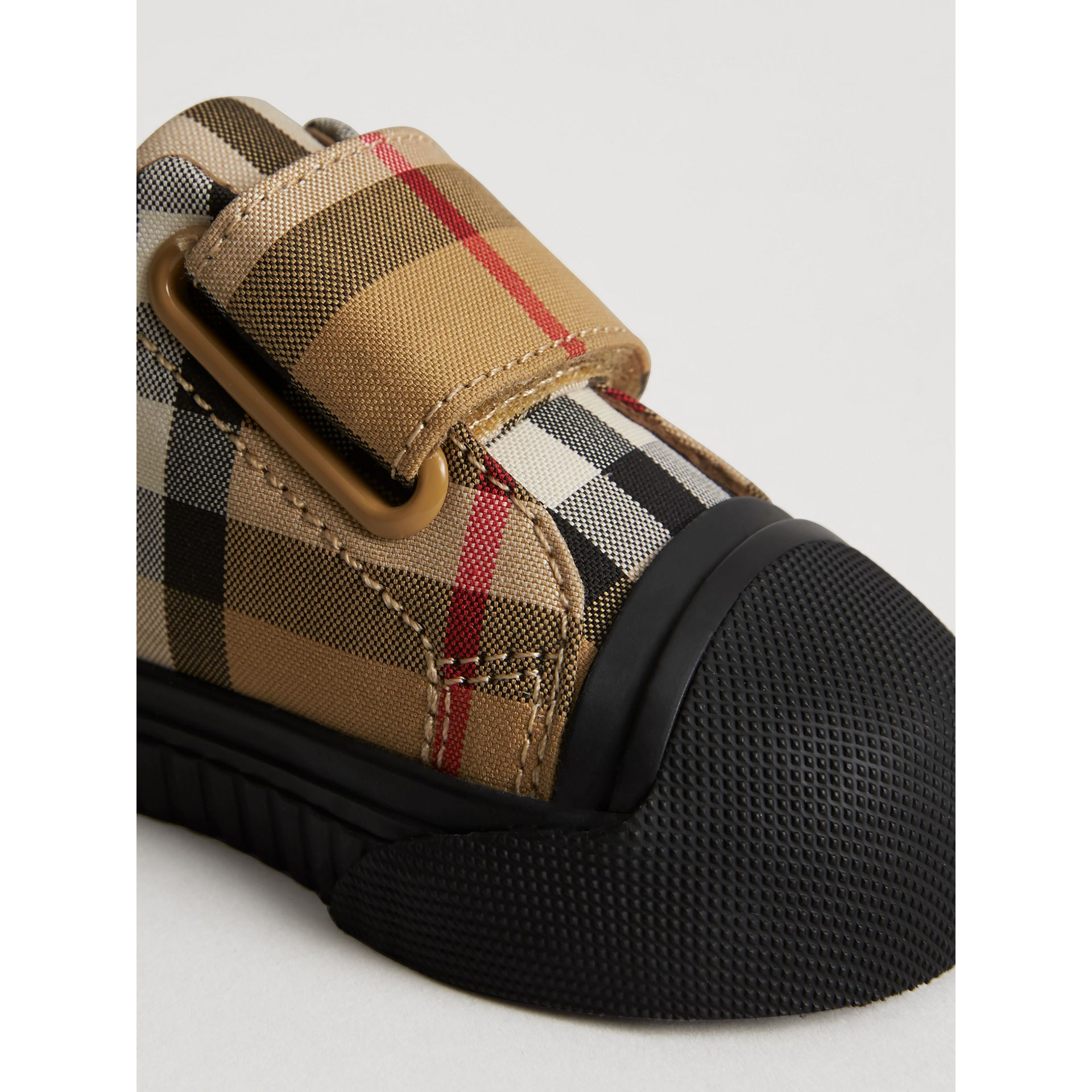 Vintage Check and Leather Sneakers in Antique Yellow/black - Children | Burberry Australia - gallery image 1