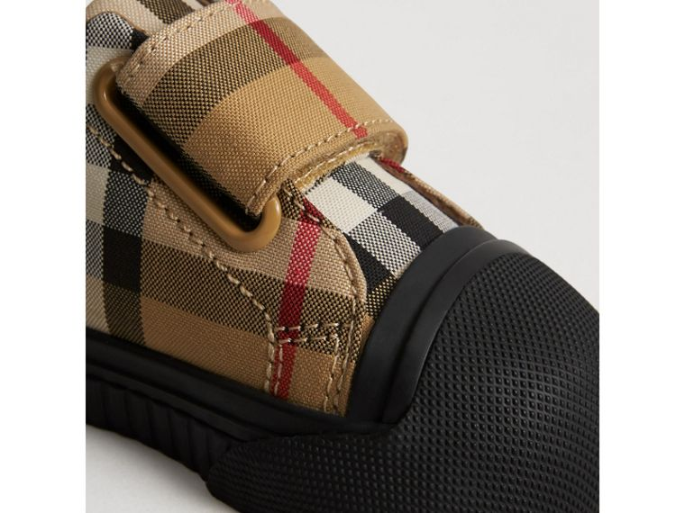 Vintage Check and Leather Sneakers in Antique Yellow/black | Burberry Singapore - cell image 1