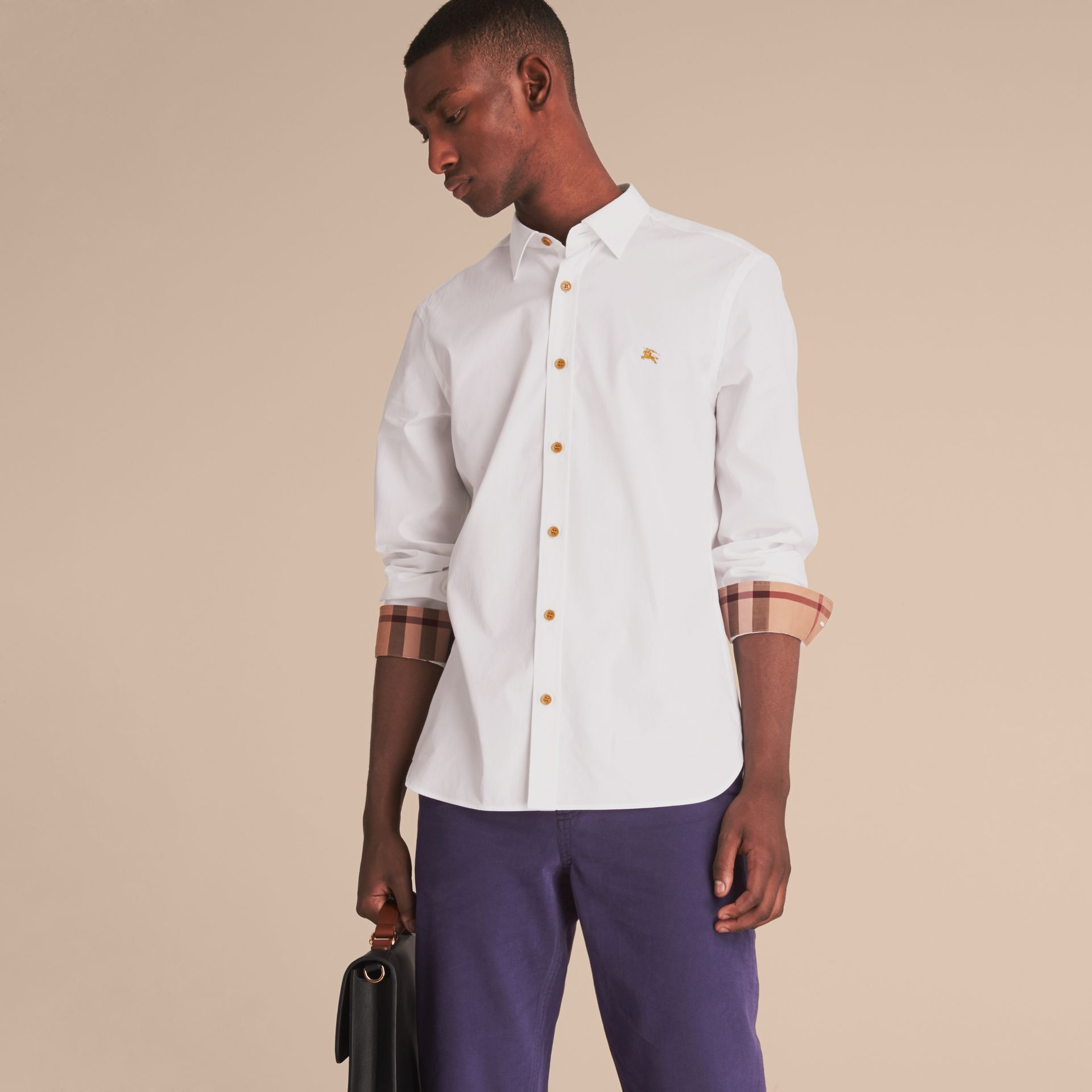 Resin Button Cotton Poplin Shirt in White - Men | Burberry - gallery image 7
