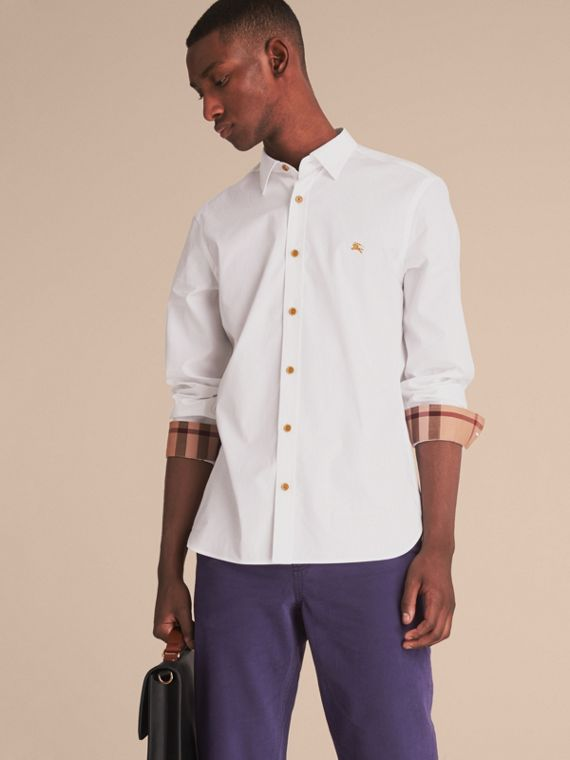 Resin Button Cotton Poplin Shirt in White - Men | Burberry Canada