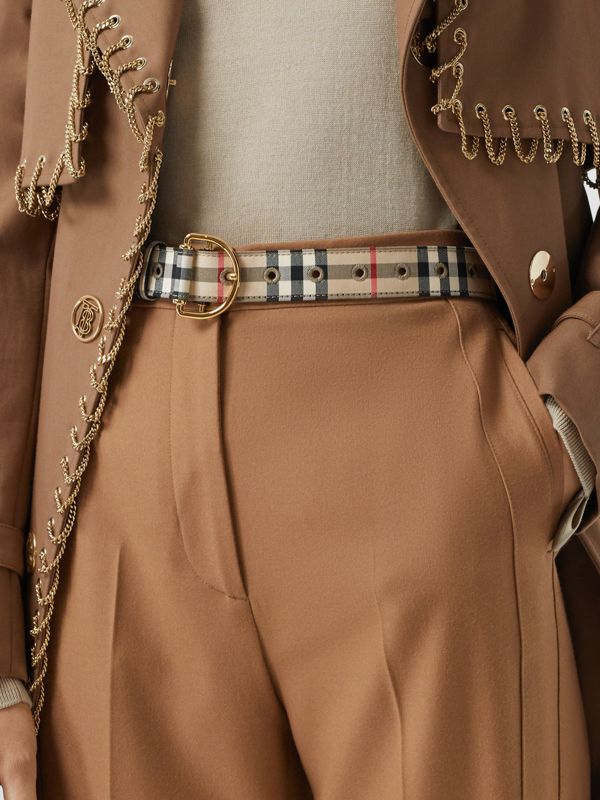 Vintage Check Cotton Blend D-ring Belt in Archive Beige - Women | Burberry - cell image 2