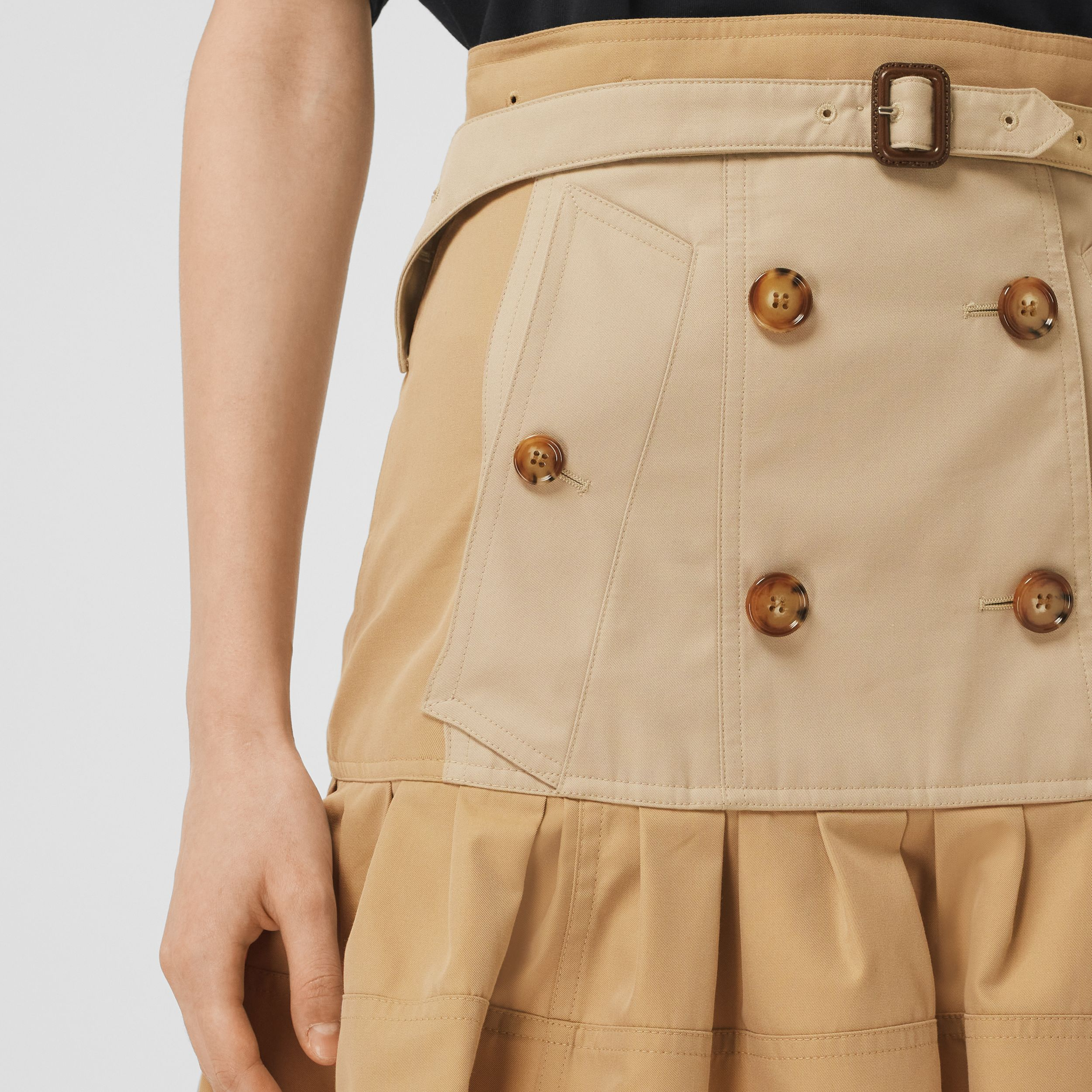 Fluted Two-tone Cotton Gabardine A-line Skirt in Honey - Women | Burberry Canada - 2