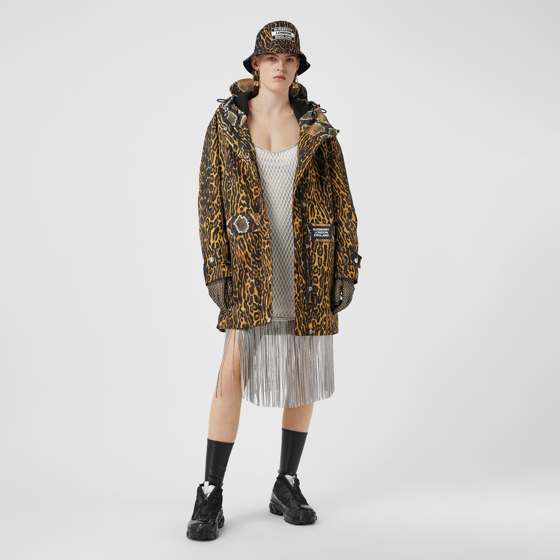 Animal Print Nylon Twill Parka in Honey - Women | Burberry - gallery image 0