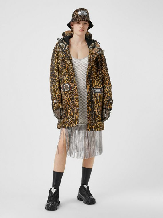 Animal Print Nylon Twill Parka in Honey