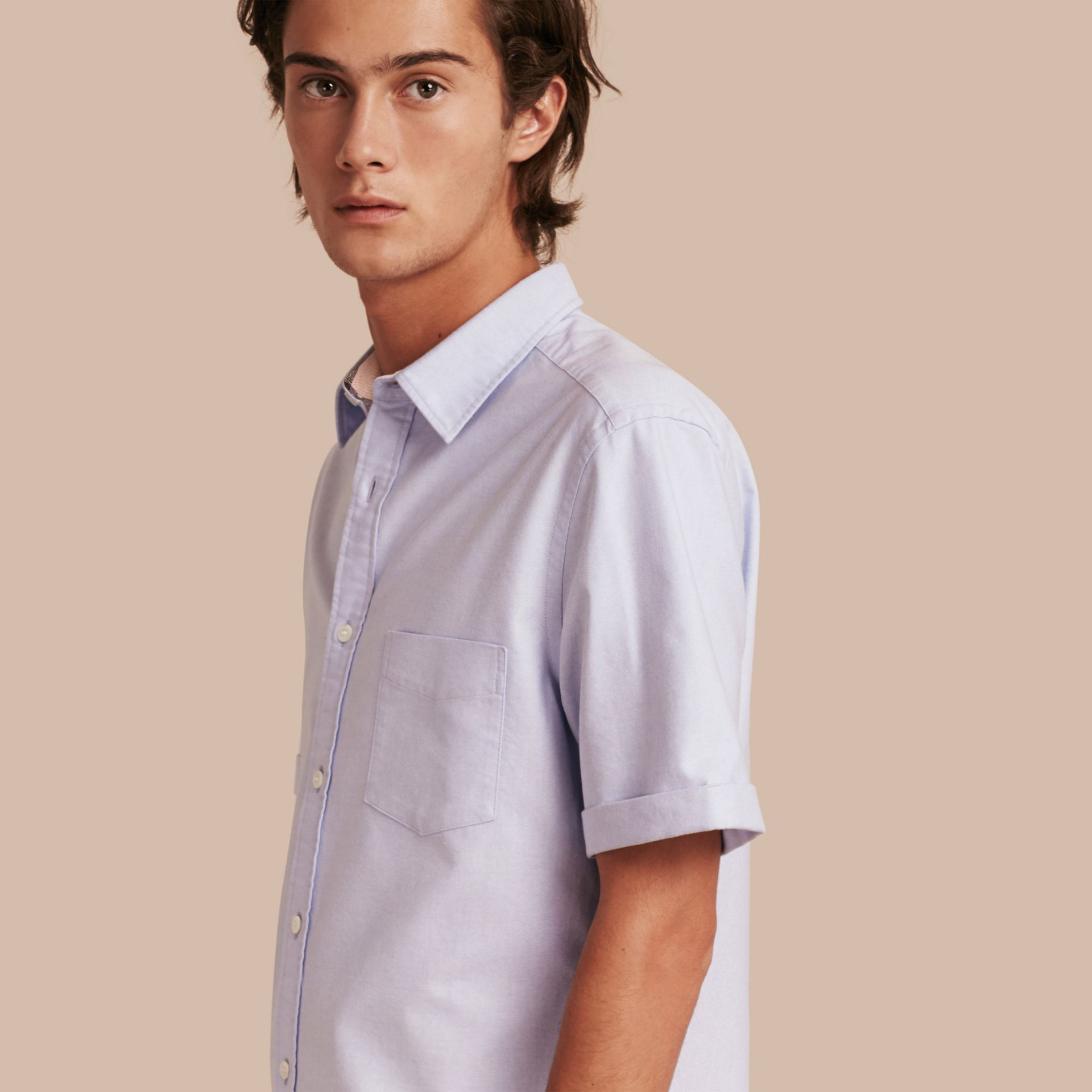 Cornflower blue Check Detail Short-Sleeved Cotton Oxford Shirt Cornflower Blue - gallery image 5