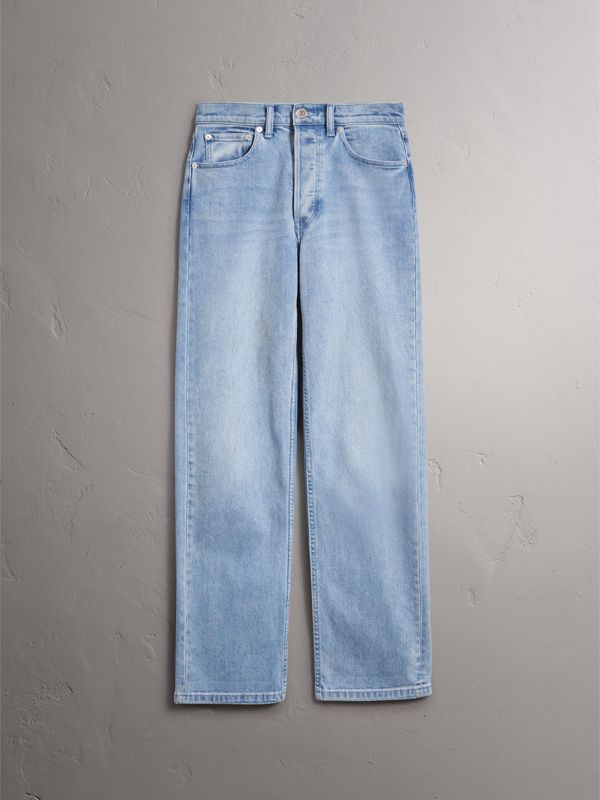 Straight Fit Stonewashed Jeans in Light Stone Blue - Women | Burberry United Kingdom - cell image 3