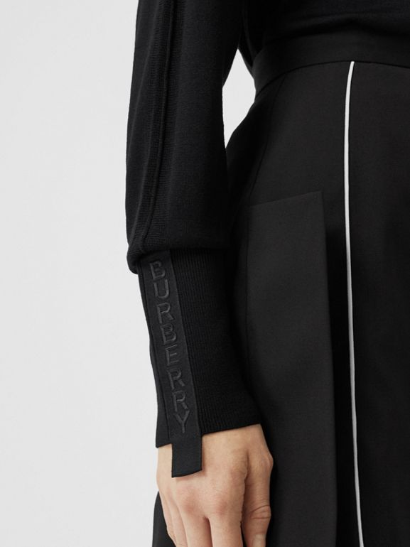 Logo Tape Merino Wool Silk Roll-neck Sweater in Black - Women | Burberry - cell image 1