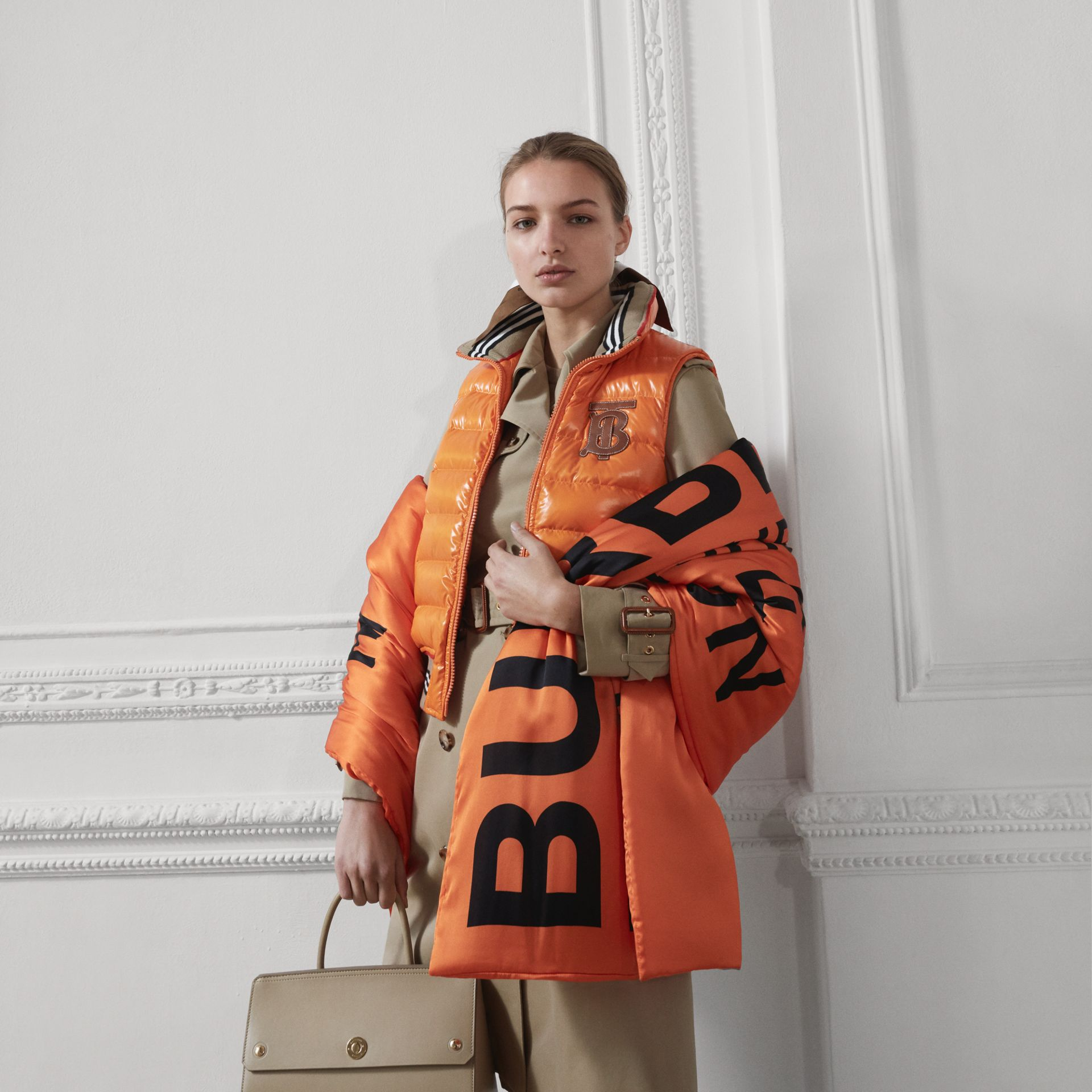 Horseferry Print Silk Puffer Scarf in Orange/black | Burberry - gallery image 1