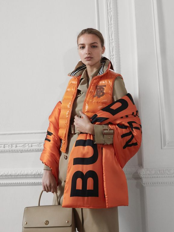 Horseferry Print Silk Puffer Scarf in Orange/black | Burberry Singapore - cell image 1