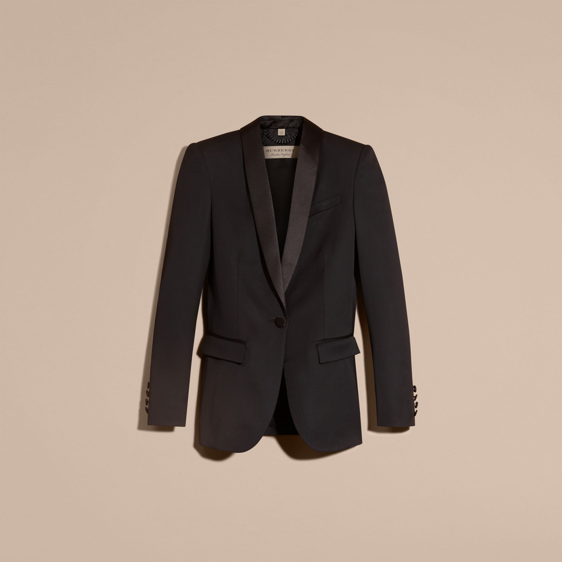 Black Stretch Wool Tuxedo Jacket - gallery image 4
