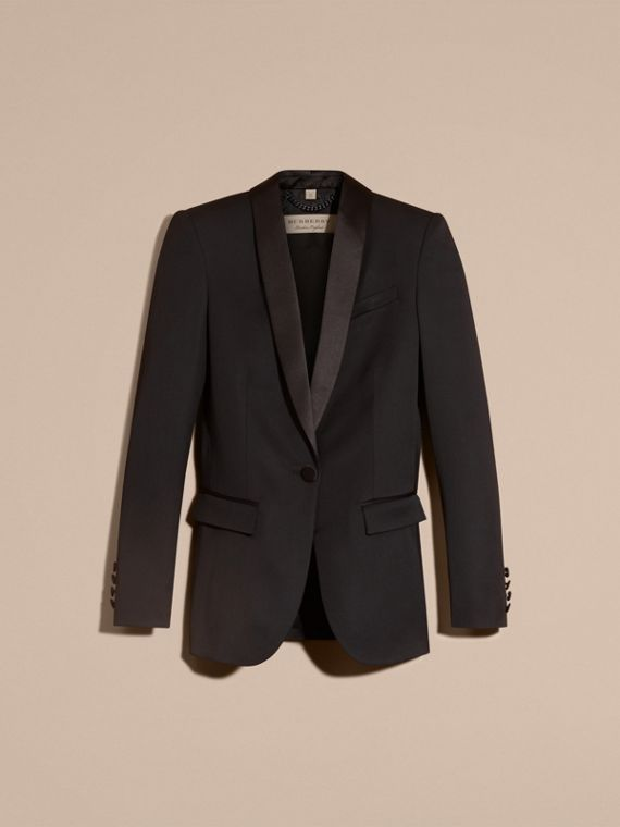 Black Stretch Wool Tuxedo Jacket - cell image 3