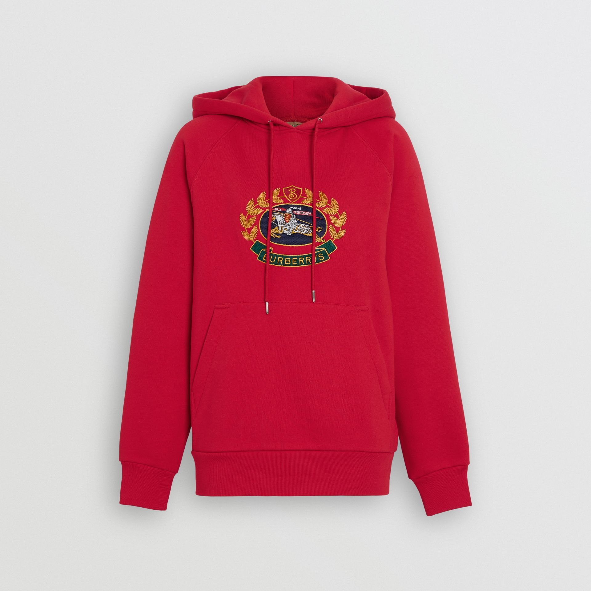 Embroidered Archive Logo Oversized Hoodie in Bright Red - Women | Burberry United Kingdom - gallery image 3