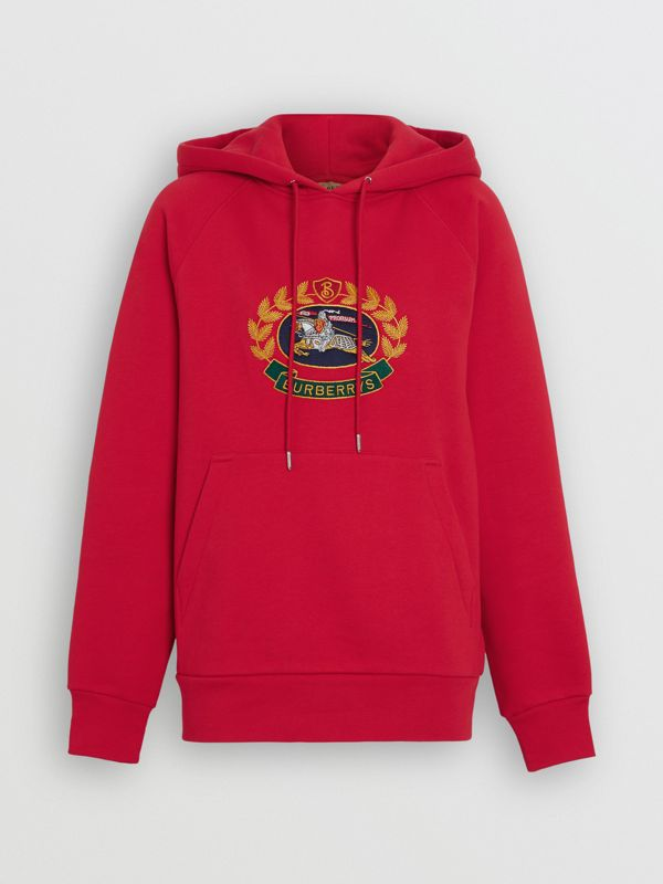 Embroidered Archive Logo Oversized Hoodie in Bright Red - Women | Burberry United Kingdom - cell image 3