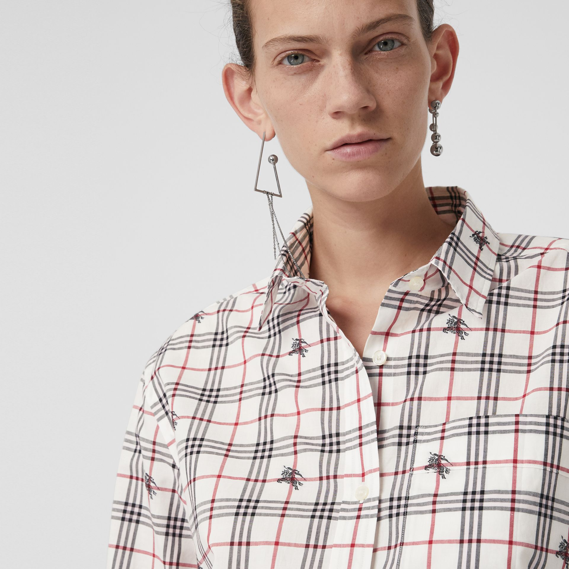 Equestrian Knight Check Cotton Shirt in Natural White - Women | Burberry Australia - gallery image 1