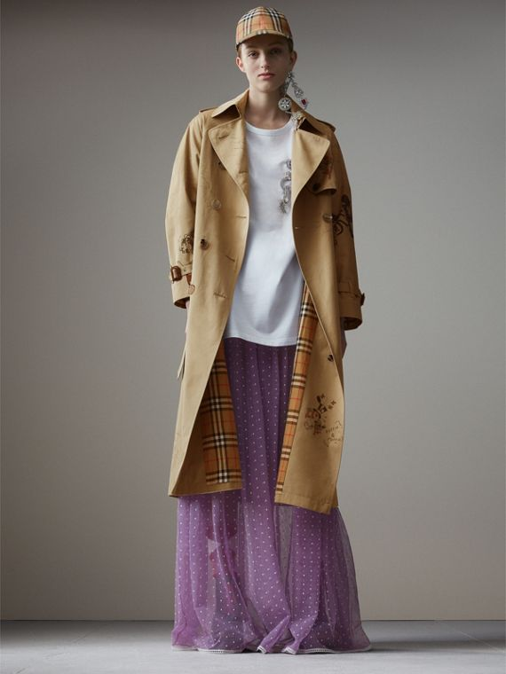 Sketch Print Tropical Gabardine Trench Coat in Honey
