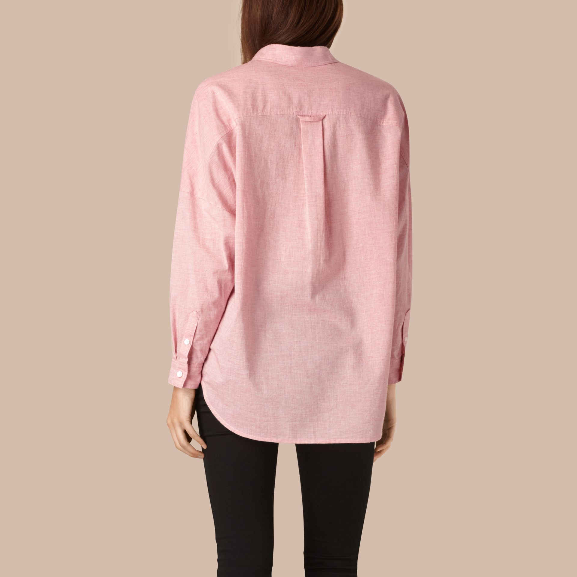 Pale pink melange Oversize Cotton Shirt - gallery image 2