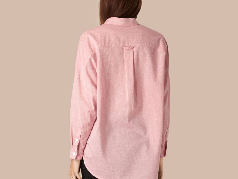 Pale pink melange Oversize Cotton Shirt - cell image 1