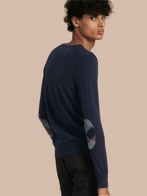Check Elbow Detail Wool Sweater Navy