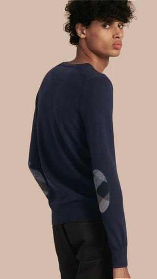 Check Elbow Detail Wool Sweater