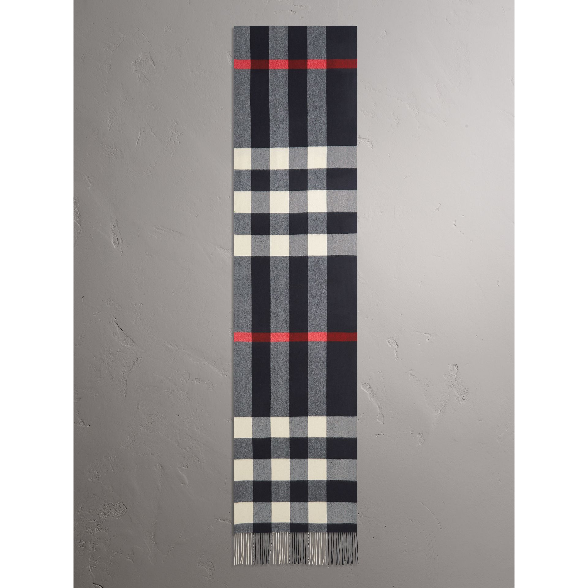 Oversize Check Cashmere Scarf in Navy - Women | Burberry - gallery image 2