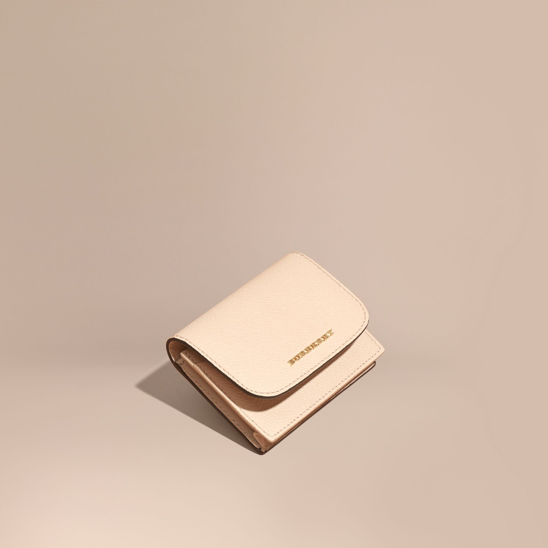 Grainy Leather Card Case in Limestone - Women | Burberry - gallery image 1