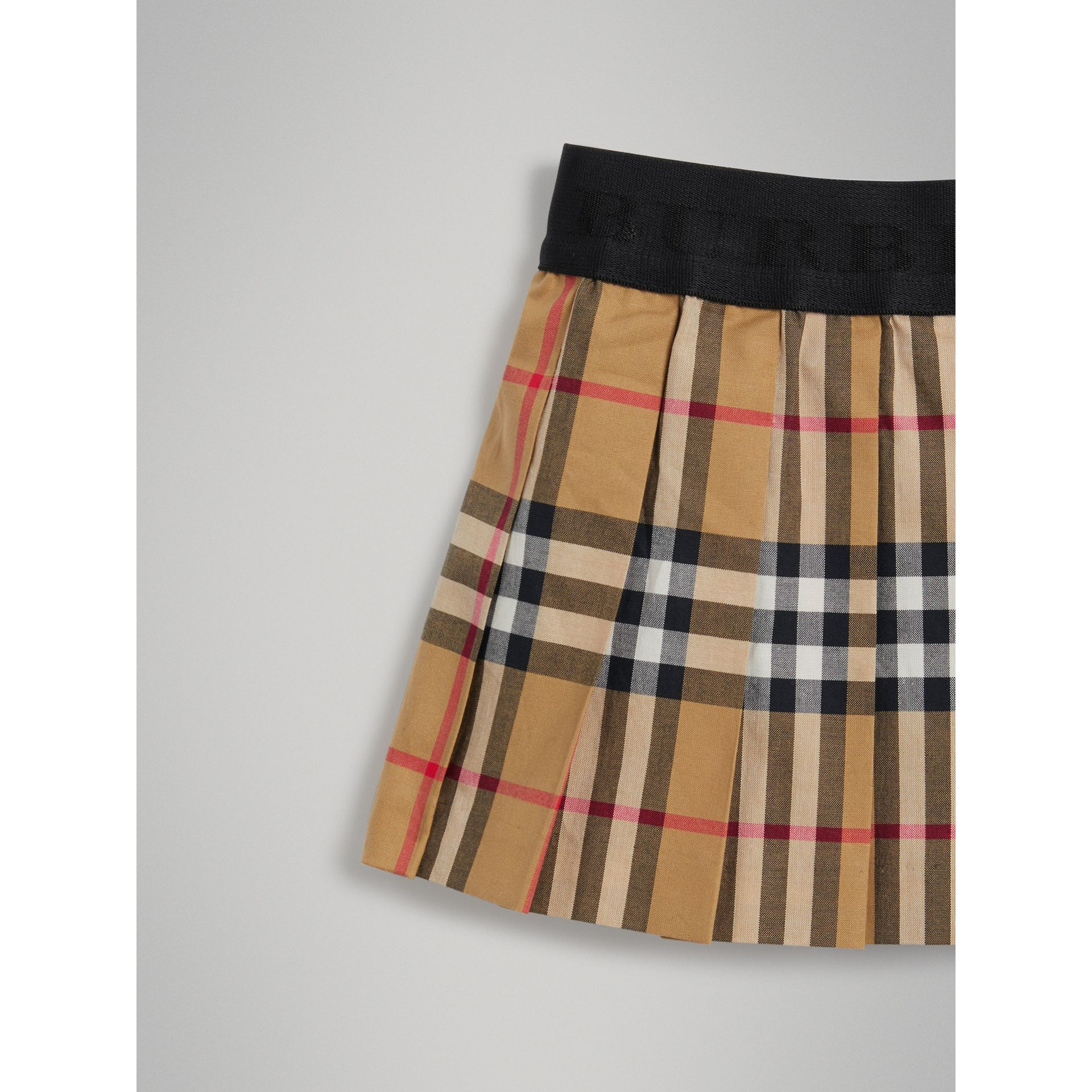 Pleated Vintage Check Cotton Skirt in Antique Yellow | Burberry - gallery image 4