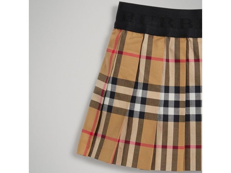 Pleated Vintage Check Cotton Skirt in Antique Yellow | Burberry - cell image 4