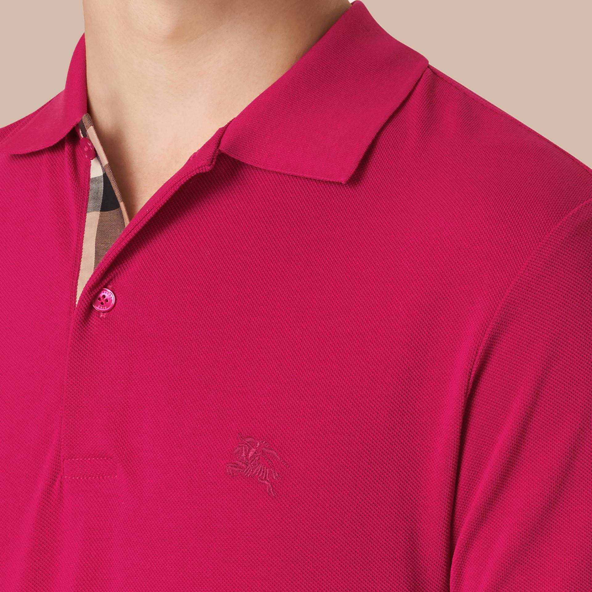 Check Placket Cotton Piqué Polo Shirt in Vibrant Fuchsia - gallery image 2