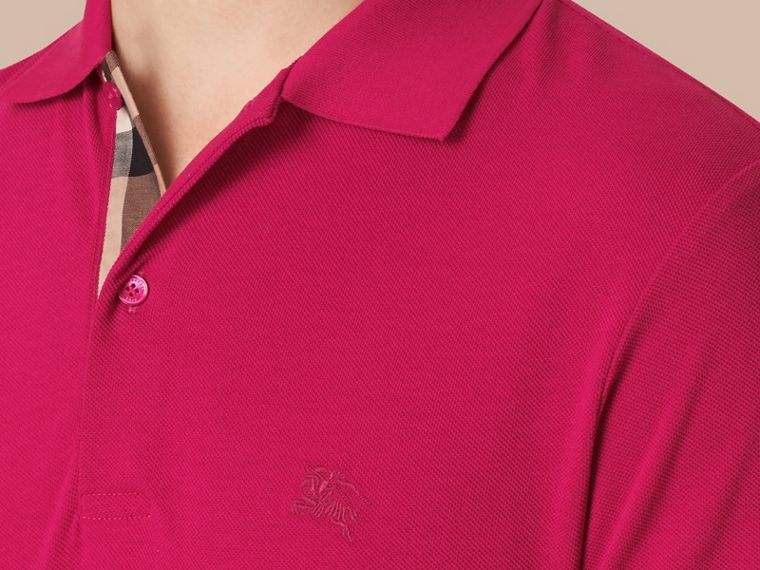 Check Placket Cotton Piqué Polo Shirt in Vibrant Fuchsia - cell image 1