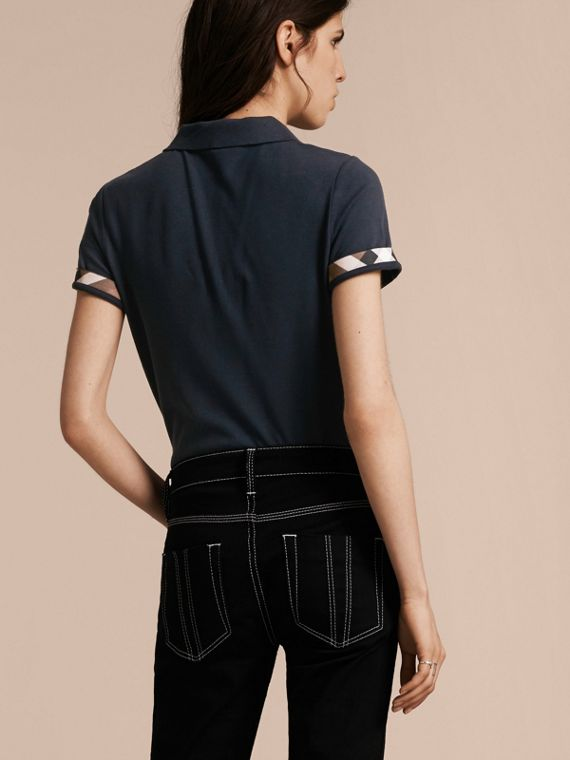 Check Trim Stretch Cotton Piqué Polo Shirt in Navy - Women | Burberry - cell image 2