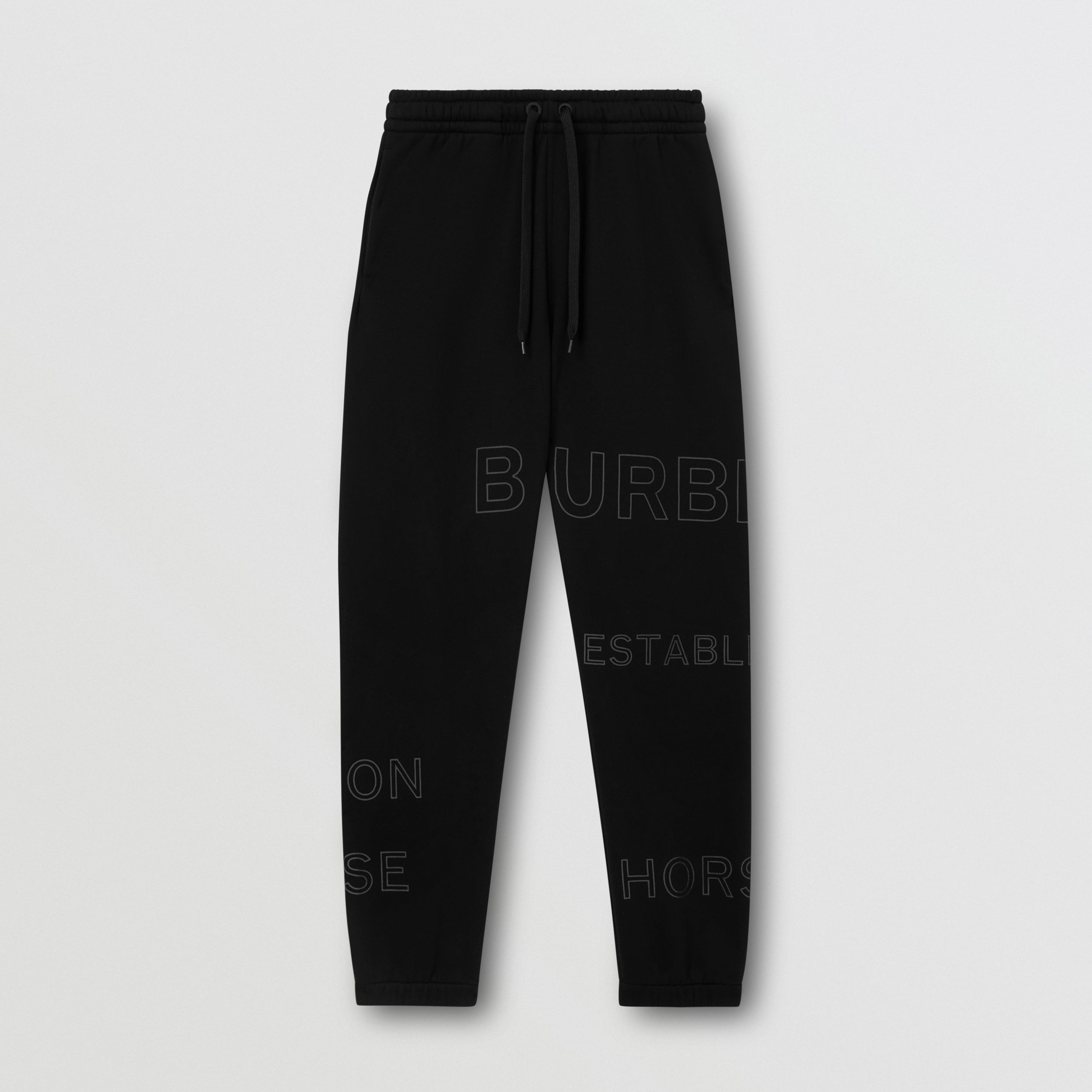 Horseferry Print Cotton Jogging Pants in Black - Women | Burberry - 4