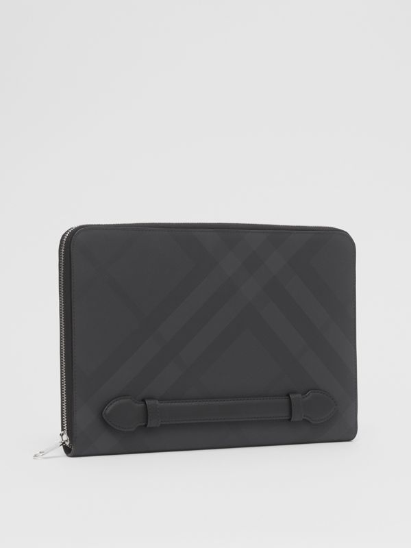 London Check and Leather Ziparound Pouch in Dark Charcoal - Men | Burberry United Kingdom - cell image 3