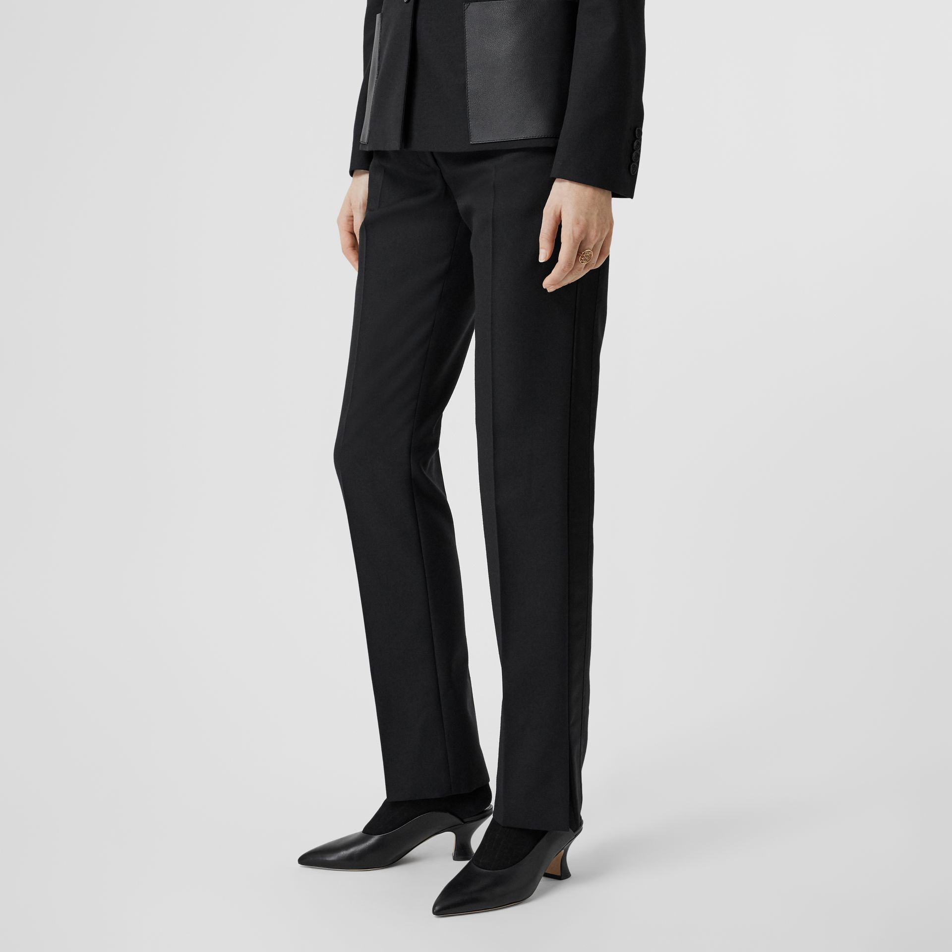 Satin Stripe Detail Wool Tailored Trousers in Black - Women | Burberry - gallery image 4