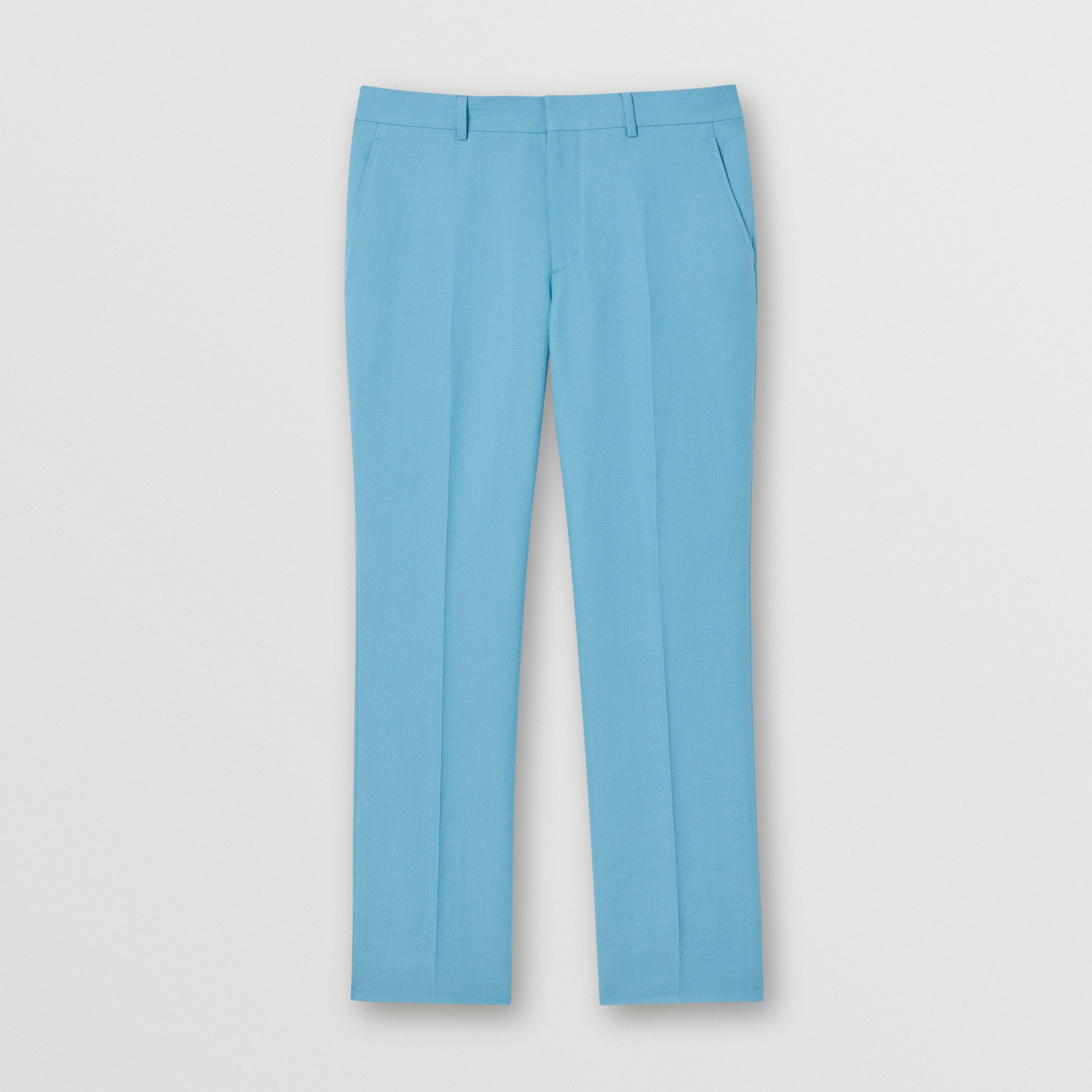 Wool Ramie Tailored Trousers in Blue Topaz - Men | Burberry - 4
