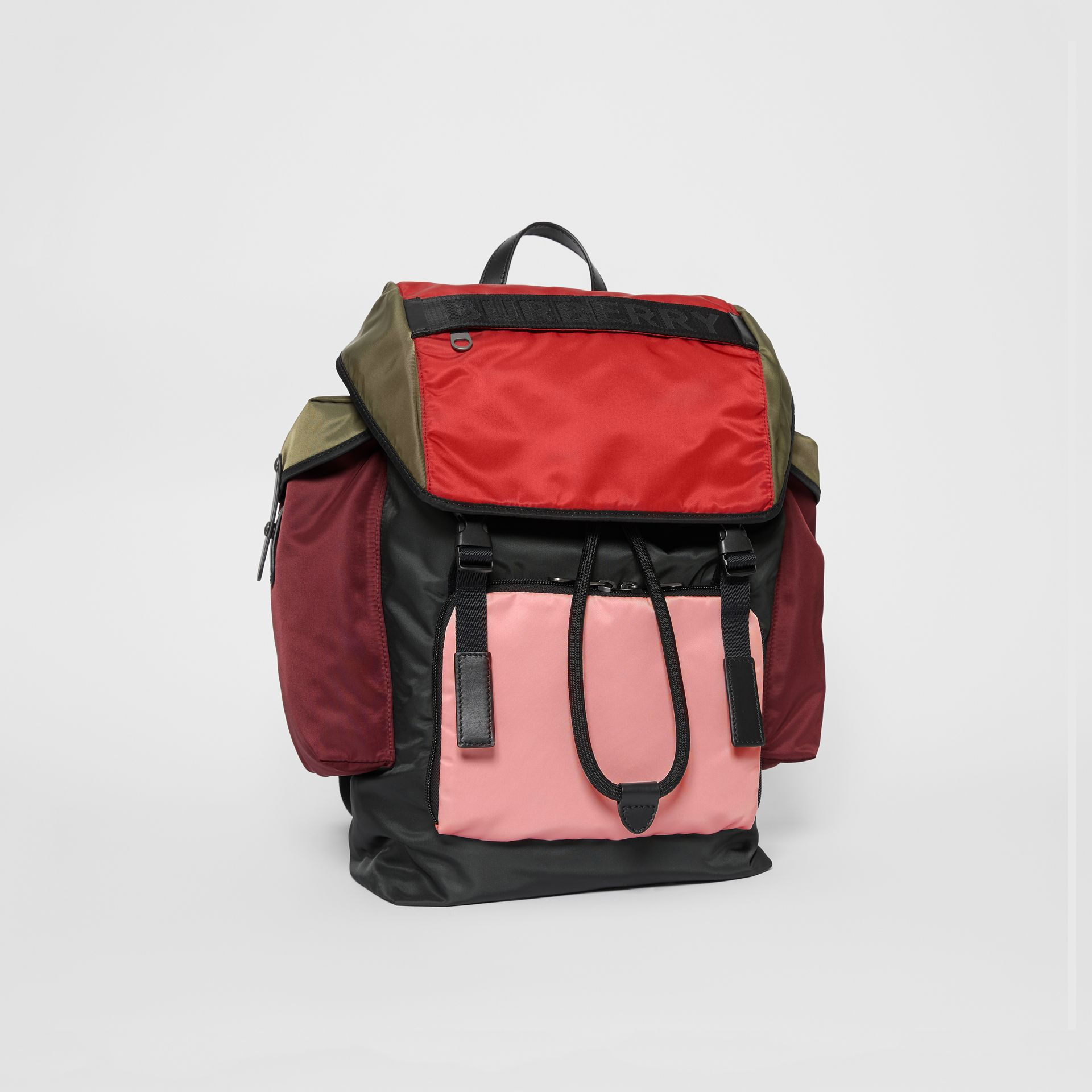 Large Leather Trim Colour Block Nylon Backpack in Multicolour | Burberry - gallery image 2