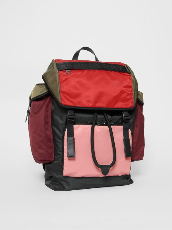 Large Leather Trim Colour Block Nylon Backpack in Multicolour | Burberry - cell image 2