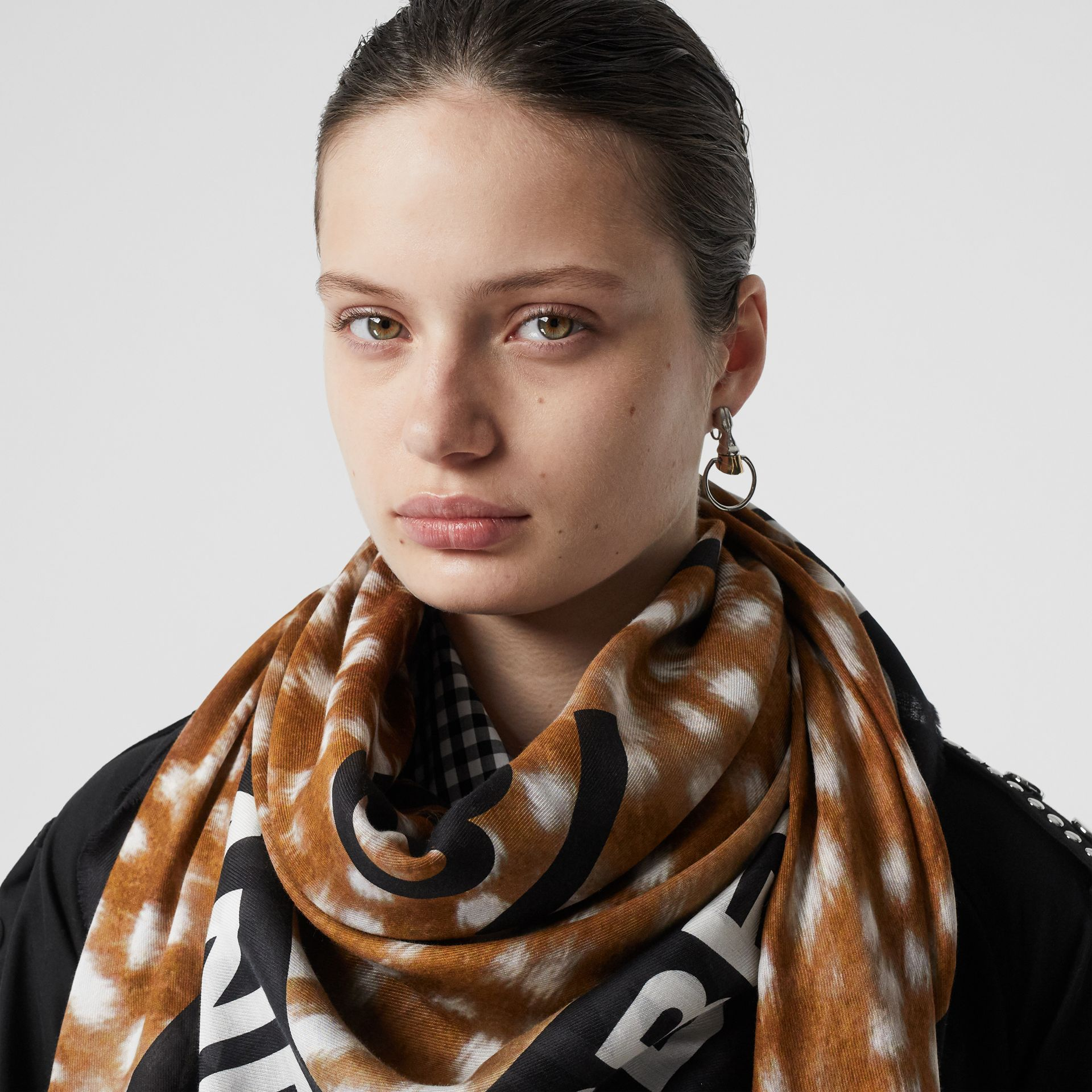 Slogan Deer Print Cotton Silk Large Square Scarf in Brown | Burberry - gallery image 2