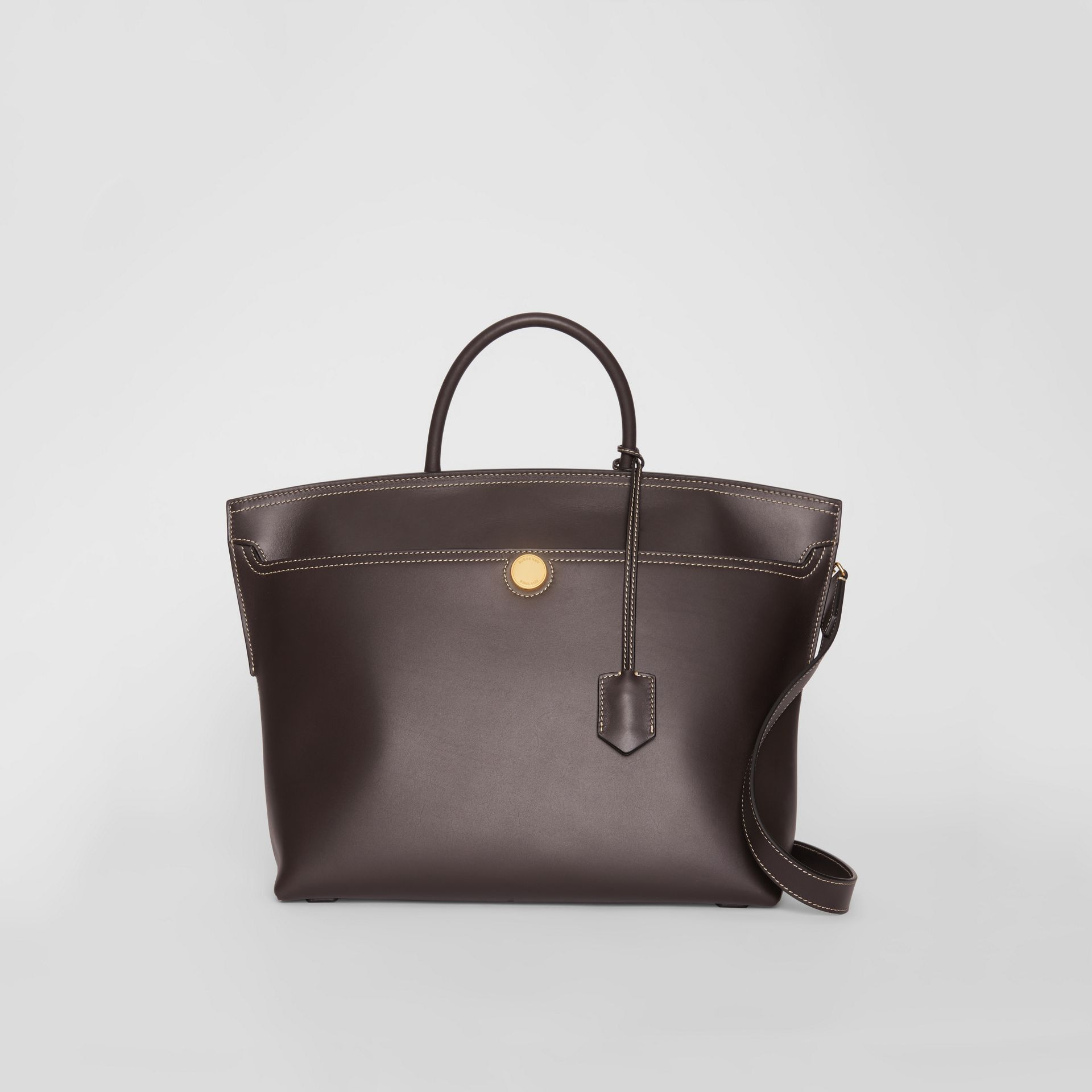 Leather Society Top Handle Bag in Coffee - Women | Burberry - gallery image 0