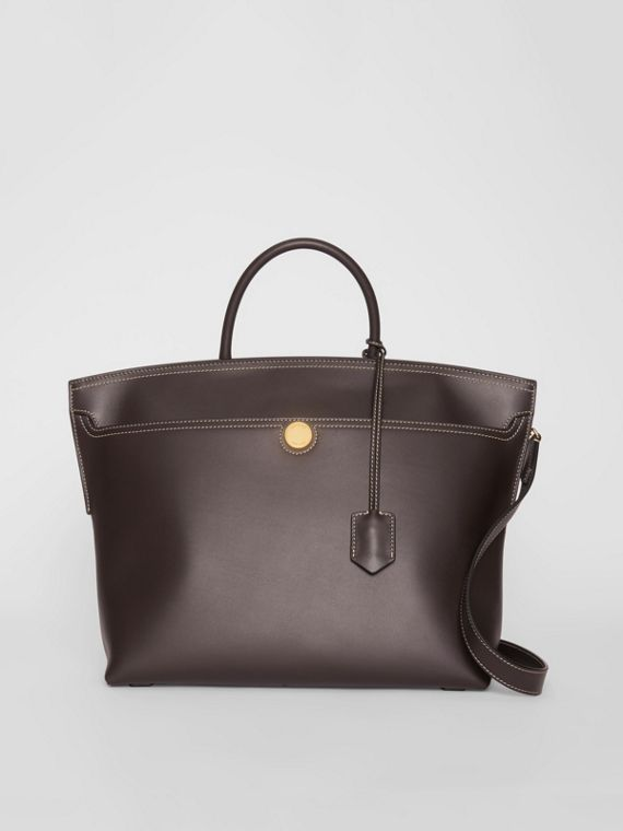 Leather Society Top Handle Bag in Coffee