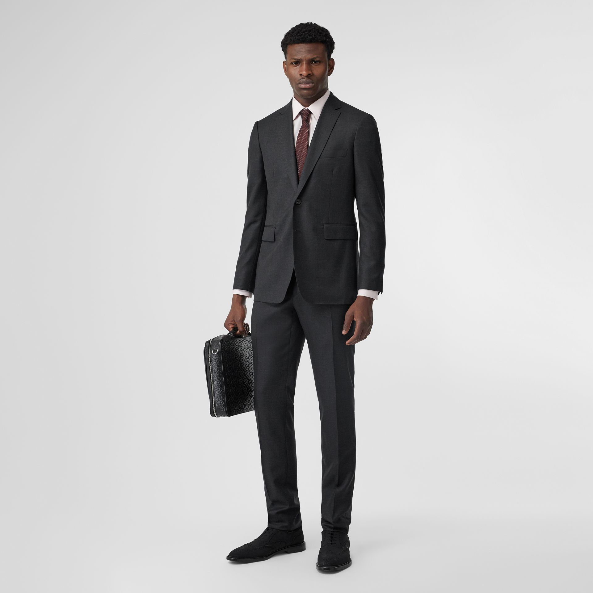 Slim Fit Wool Silk Linen Suit in Dark Grey Melange - Men | Burberry United Kingdom - gallery image 0